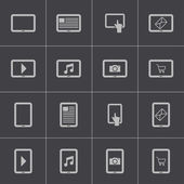 Vector black tablet icons set — Vector de stock