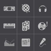 Vector black dj icons set — Stock Vector