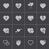 Vector black hearts icons set — Cтоковый вектор