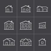 Vector black houses icons set — Cтоковый вектор