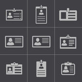Vector black id card icons set — Stock Vector