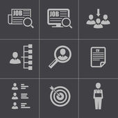 Vector black job search icons set — Stock Vector