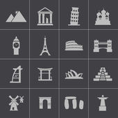 Vector black landmark icons set — Stock Vector