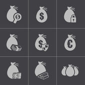 Vector black money icons set — Stock Vector