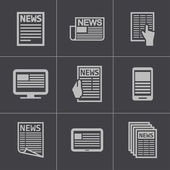 Vector black newspaper icons set — Stock Vector