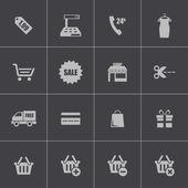 Vector black shopping icons set — Stock Vector