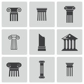 Vector black column icons set — Stock Vector