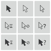 Vector black mouse cursor icons set — Stock Vector