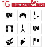 Vector black paris icons set — Stock Vector