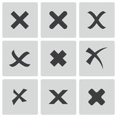 Vector black rejected icons set — Stock Vector