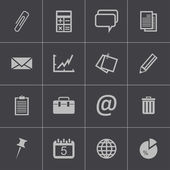 Zestaw ikon biuro wektor czarny — Wektor stockowy