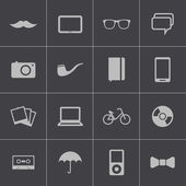 Vector black hipster icons set — Stock Vector
