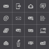 Vector black email icons set — Stock Vector