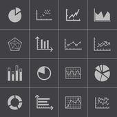 Vector black diagram icons set — Stock Vector