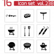 Vector black barbecue icons set — Stock Vector #36883433