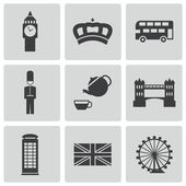 Vector black london icons set — Stock Vector