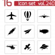 Vector black airplane icons set — Stock Vector