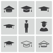 Vector black academic cap icons set — Stock Vector