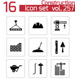 Vector black construction icons set — Stock vektor
