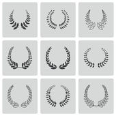 Vector black laurel wreaths icons set — Stock Vector