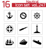 Vector black nautical icons set — Vector de stock