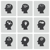 Vector black thoughts icons set — Stock Vector