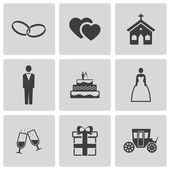 Vector black wedding icons set — Stock Vector