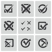 Vector black check marks icons set — Stockvektor