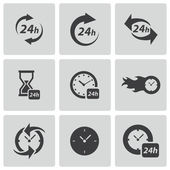 Vector black clock icons set — Stock Vector