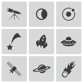 Vector black space icons set — Stock Vector