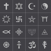Vector black religious symbols set — Stock Vector