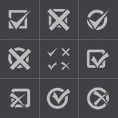 Vector black check marks icons set — Stockvector