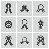 Vector black award medal icons set — Stock Vector