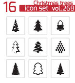 Vector black christmas tree icons set — Vetorial Stock