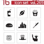 Vector black USA icons set — Stock Vector