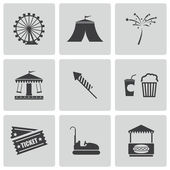 Vector black carnival icons set — Stock Vector