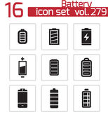 Vector black battery icons set — Stock Vector