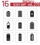 Vector black battery icons set — Stock Vector
