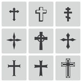 Vector black christia crosses icons set — Stock Vector