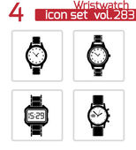 Vector black wristwatch icons set — Stock Vector