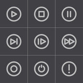 Vector black media buttons icons set — Stock Vector