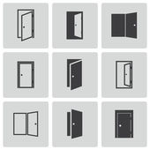 Vector black door icons set — Stock Vector
