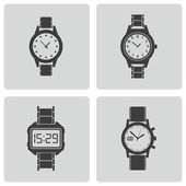 Vector black wristwatch icons set — Wektor stockowy