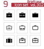 Vector black briefcase icons set — Stock Vector