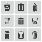 Vector black trash can icons set — Stock Vector