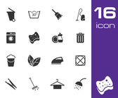 Vector black cleaning icons set on white background — Stock Vector