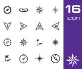 Vektor svart kompass ikoner set — Stockvektor