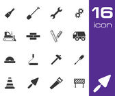 Vector black construction icons set on white background — Stock Vector