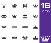 Vector black crown icons set — Stock Vector