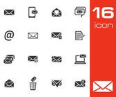 Vector black email icons set on white background — Stock Vector